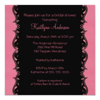 Fancy Black & Pink Trim Bridal Shower Invitation
