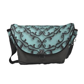 Fancy Black Scroll Work on Aqua Teal Courier Bags