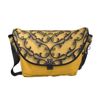 Fancy Black Scroll Work on Gold Saffron Courier Bag