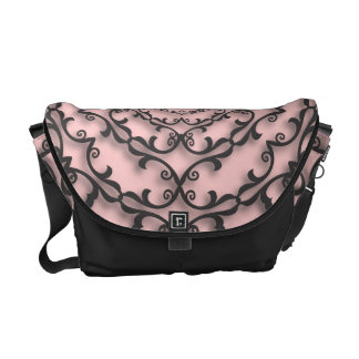 Fancy Black Scroll Work on Pink Courier Bags
