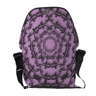 Fancy Black Scroll Work on Purple Courier Bags