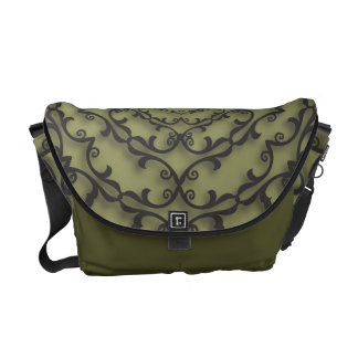 Fancy Black Scroll Work on Sage Green Commuter Bag