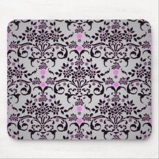 Fancy Black Silver Purple Floral Damask Pattern Mouse Pad