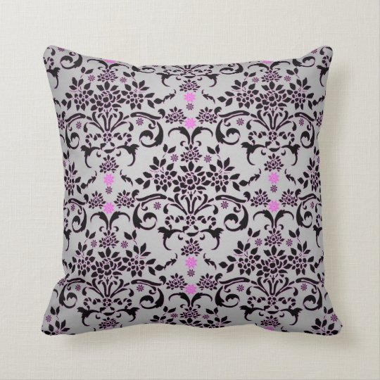 Fancy Black Silver Purple Floral Damask Pattern Throw