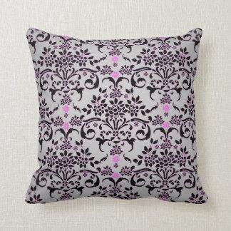 Fancy Black Silver Purple Floral Damask Pattern Throw Pillow