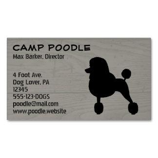 Fancy Black Standard Poodle Silhouette Business Card Magnet