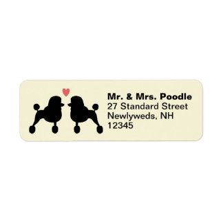 Fancy Black Standard Poodle Silhouettes with Heart Label