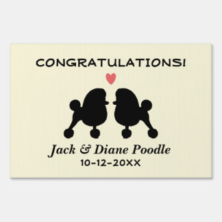Fancy Black Toy Poodles Wedding Couple with Text Yard Sign