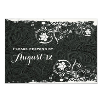 Fancy Black White Rustic Boat RSVP Card