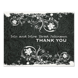 Fancy Black White Rustic Leather Thank You Personalized Invitation