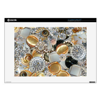 """Fancy Bling Buttons Collage 15"""" Laptop Skins"""