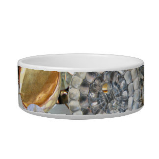 Fancy Bling Buttons Collage Cat Food Bowl