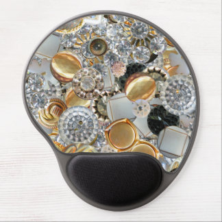 Fancy Bling Buttons Collage Gel Mousepads