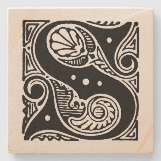 Fancy Block Letter 'S' Monogram Stone Coaster
