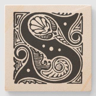 Fancy Block Letter 'S' Monogram Stone Coaster