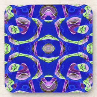 fancy blue abstract coaster