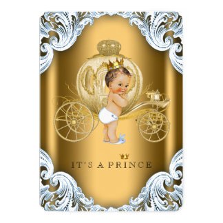 Fancy Blue and Gold Carriage Prince Baby Shower Card