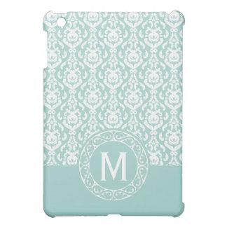 Fancy Blue and White Damask Monogram iPad Mini Cover