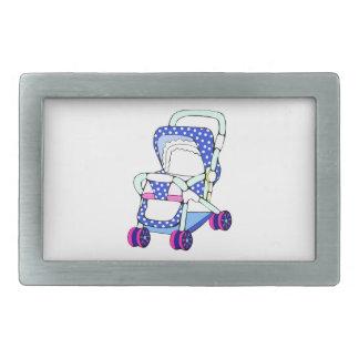 Fancy blue baby stroller graphic belt buckles