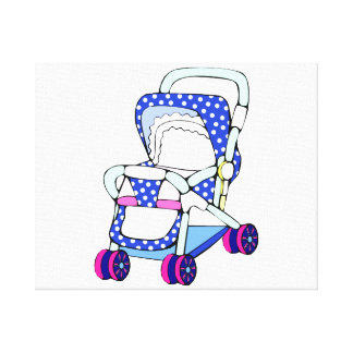 Fancy blue baby stroller graphic canvas print