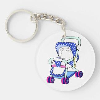 Fancy blue baby stroller graphic keychain