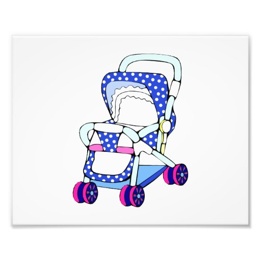 Fancy blue baby stroller graphic photograph