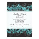 Fancy Blue Black Damask Bridal Shower Invitation