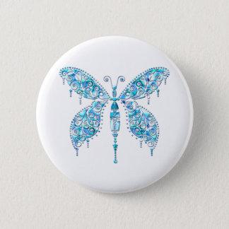 Fancy Blue Butterfly Pinback Button
