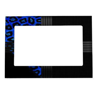 Fancy Blue Cheetah Print Magnetic Photo Frame