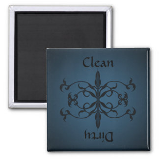 Fancy Blue Clean or dirty dishwasher magnet