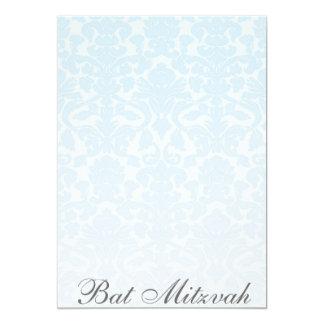 Fancy Blue Damask Bat Mitzvah Invitation