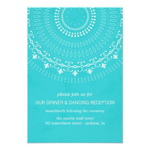 Fancy Blue Design Wedding Reception Cards 35 X 5 Invitation Card