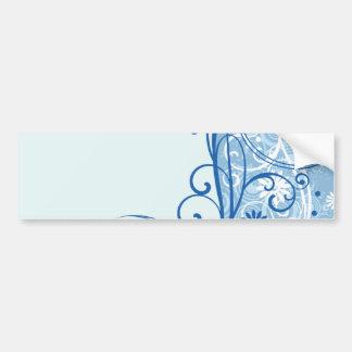 Fancy Blue Flowers Bumper Stickers