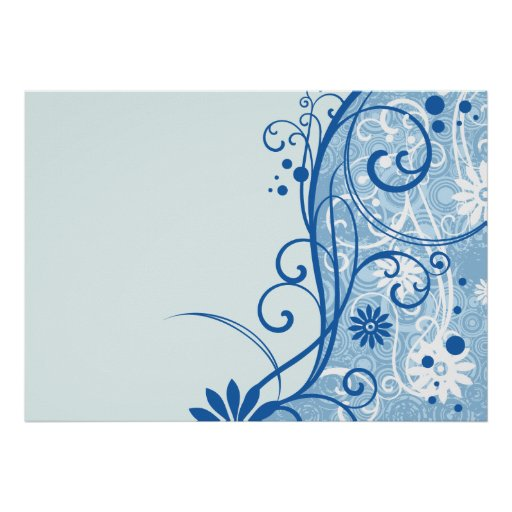 Fancy Blue Flowers Poster
