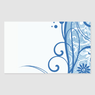 Fancy Blue Flowers Rectangular Sticker