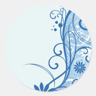 Fancy Blue Flowers Classic Round Sticker