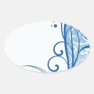 Fancy Blue Flowers Oval Sticker