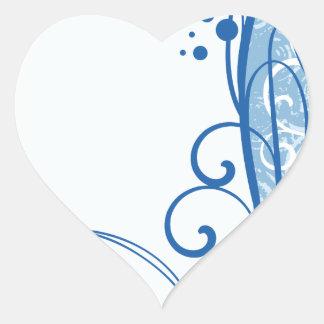 Fancy Blue Flowers Heart Sticker