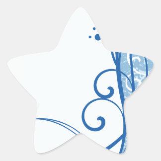 Fancy Blue Flowers Star Sticker