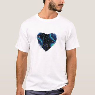 Fancy Blue Fractal Heart T-Shirt