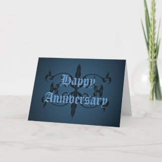 Fancy blue Gothic Anniversary card to personalize card