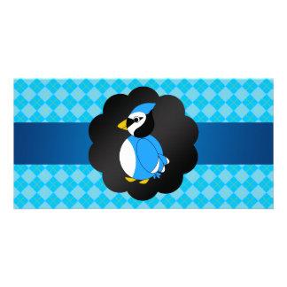 Fancy blue jay blue argyle pattern personalized photo card