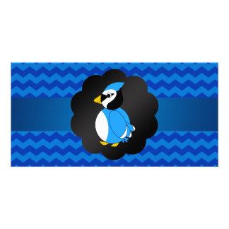 Fancy blue jay blue chevrons photo card