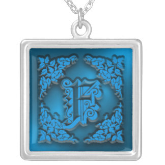 Fancy Blue Letter F Initial Necklace