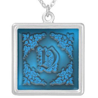 Fancy Blue Letter V Initial Necklace