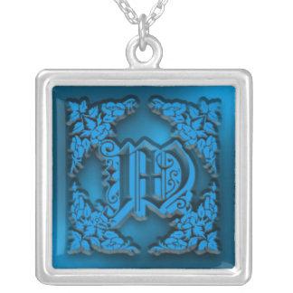 Fancy Blue Letter W Initial Necklace