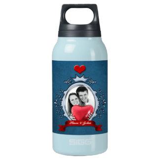 Fancy Blue Metallic Frame Red Ribbon & Heart Insulated Water Bottle