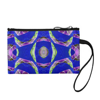 fancy blue moaic abstract coin wallet