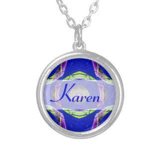 fancy blue moaic abstract round pendant necklace