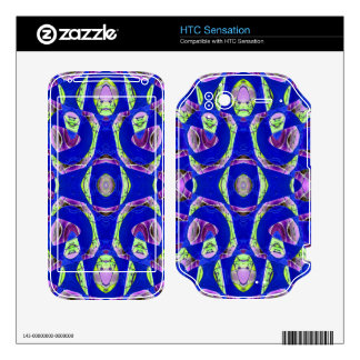 fancy blue ornate abstract decal for HTC sensation